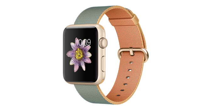 Apple Watch Sport 42mm Gold Aluminum Case with Gold/Royal Blue Woven Nylon